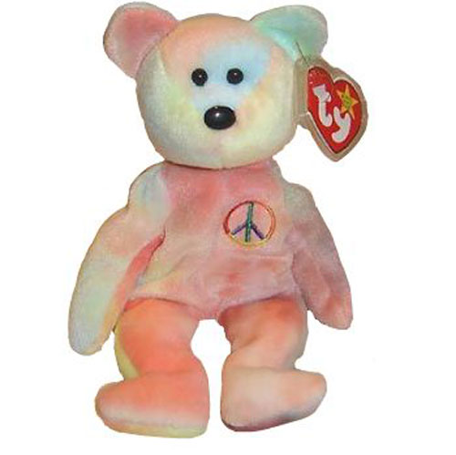 TY Beanie Baby - PASTEL PEACE  102 the Ty-Dyed Bear (Misc) (8.5 inch)   BBToyStore.com - Toys a74ee2fed3e