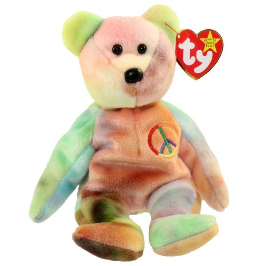 dddbdc05ddb0f0 TY Beanie Baby - PEACE the Ty-Dyed Bear (8.5 inch): BBToyStore.com - Toys,  Plush, Trading Cards, Action Figures & Games online retail store shop sale