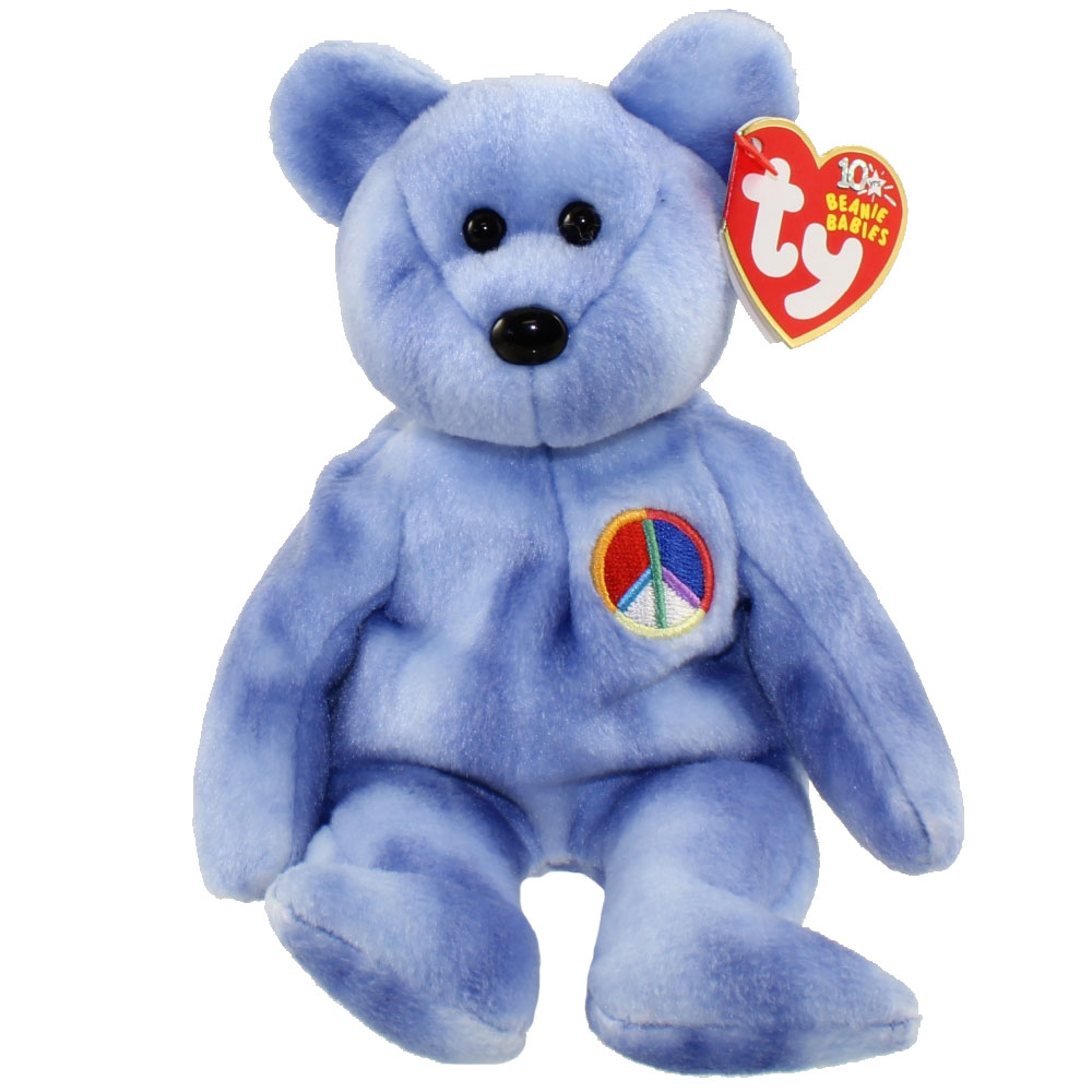 ty beanie baby - peace 2003 the bear  blue version   8 5 inch   bbtoystore com