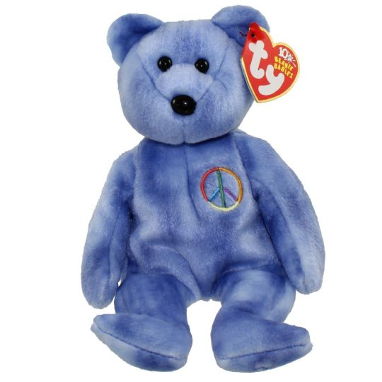 bca5482c99e TY Beanie Baby - PEACE 2003 the Bear (Blue - Non-Colored Peace Sign ) (UK  Exclusive) (8.5 inch)  BBToyStore.com - Toys