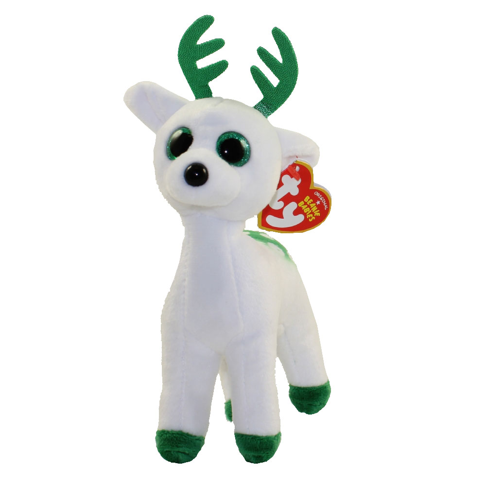Ty beanie baby peppermint the green white reindeer for Bb shop