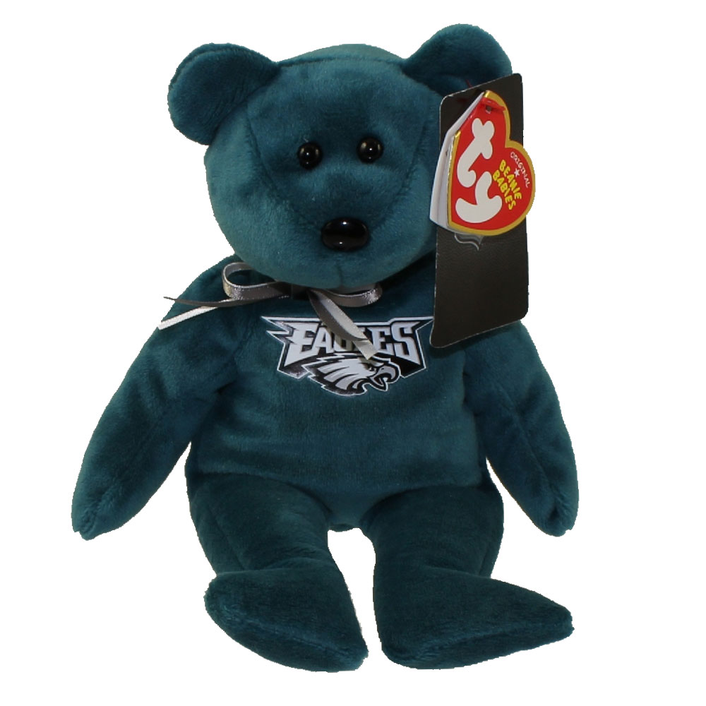 ty beanie baby - nfl football bear - philadelphia eagles  8 5 inch   bbtoystore com