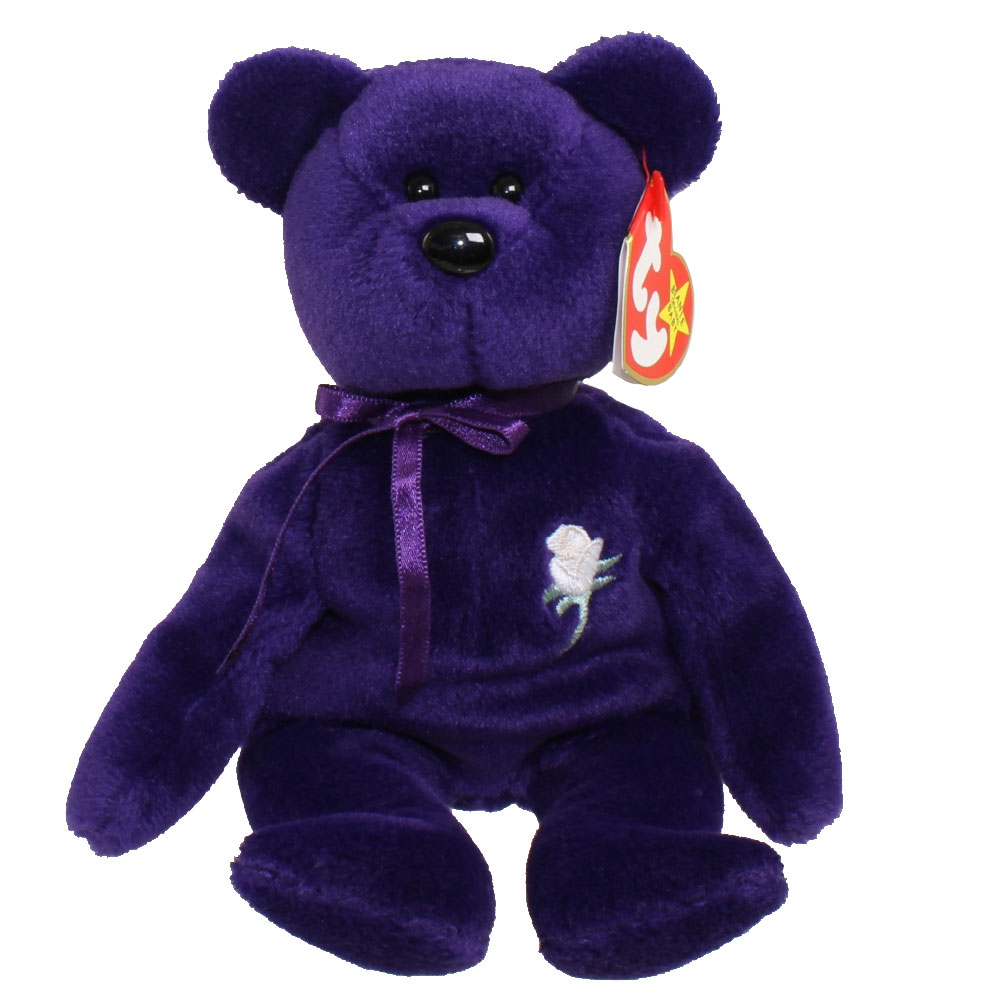Ty Beanie Baby Princess The Purple Bear Pvc Made In Indonesia Version 1997 8 5