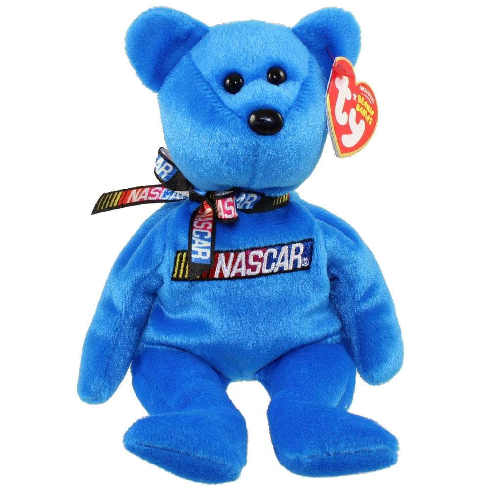 TY Beanie Baby - RACER the Nascar Bear ( Blue Version ) (8.5 inch)   BBToyStore.com - Toys 5a3652644ab