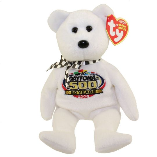 TY Beanie Baby - RACING GOLD the Nascar Bear ( White Version ) (8.5 inch)   BBToyStore.com - Toys d2f9ddec392