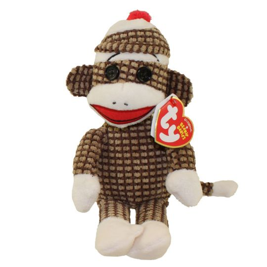 TY Beanie Baby - SOCK MONKEY (Brown Quilted - 8.5 inch)  BBToyStore.com -  Toys d8b5f1b2619