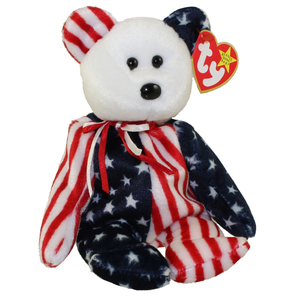 Ty beanie baby spangle the bear white head version 8 for Bb shop
