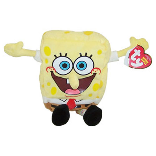 Ty Beanie Baby Spongebob Squarepants Screen Printed Face Best Day Ever 8 5 Inch