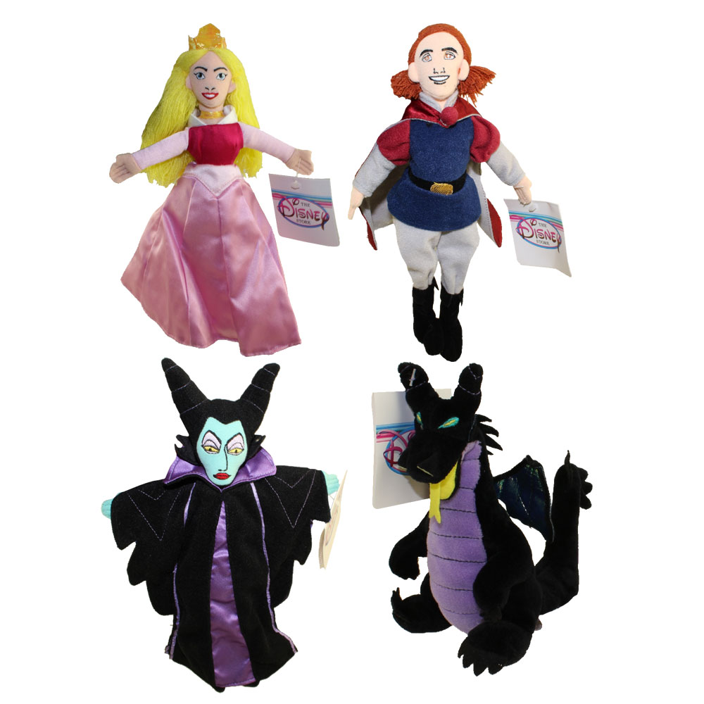 Disney Bean Bag Plush - SET OF 4 Sleeping Beauty (PRINCESS AURORA,MALEFICENT,DRAGON,PRINCE PHILLIP)