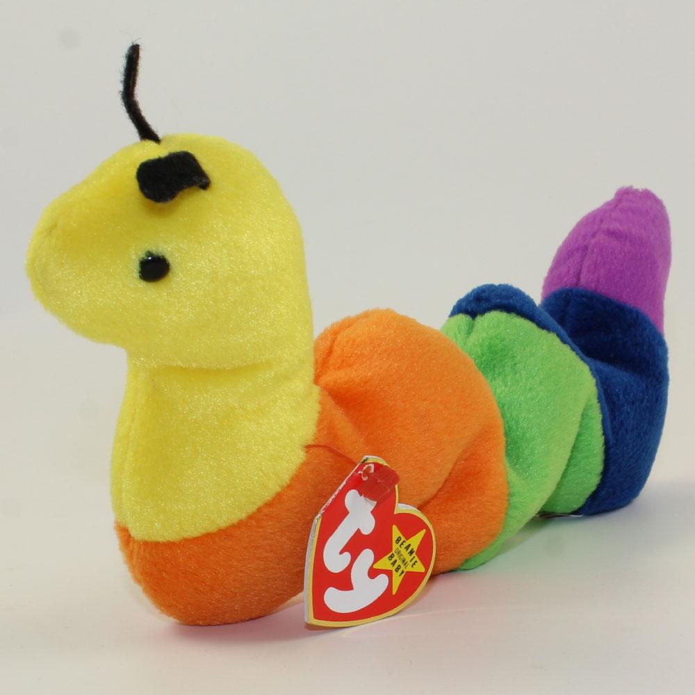 ty beanie baby - inch the inchworm  felt antennae   4th gen hang tag