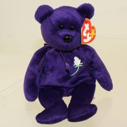 81ef10d3961 TY Beanie Baby - PRINCESS the Purple Bear (PE pellets - Made in Indonesia  Version
