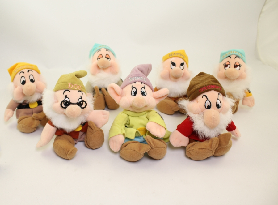 Disney Bean Bag Plush - Snow White & the Seven Dwarfs - SET OF 7 Dwarfs *NM - NO TAGS*