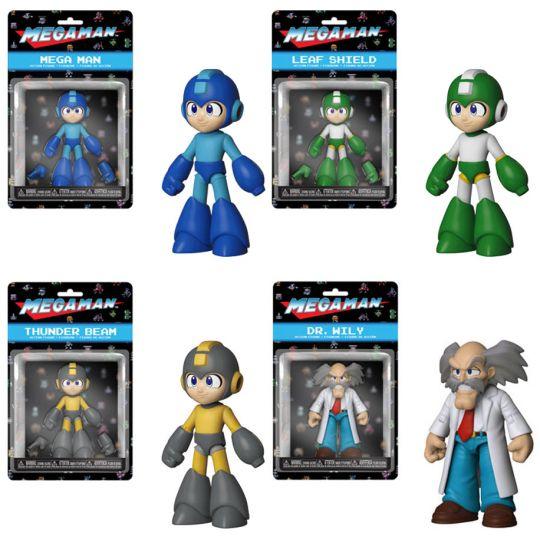 Funko Action Figures - Mega Man S1 - SET OF 4 (Dr  Wily, Thunder Beam, Leaf  Shield & Mega Man)