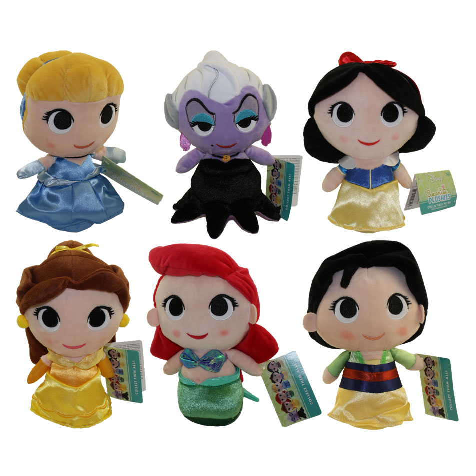 Funko SuperCute Plushies - Disney - SET OF 6 (Mulan, Belle, Ariel, Ursula, Snow White & Cinderella)