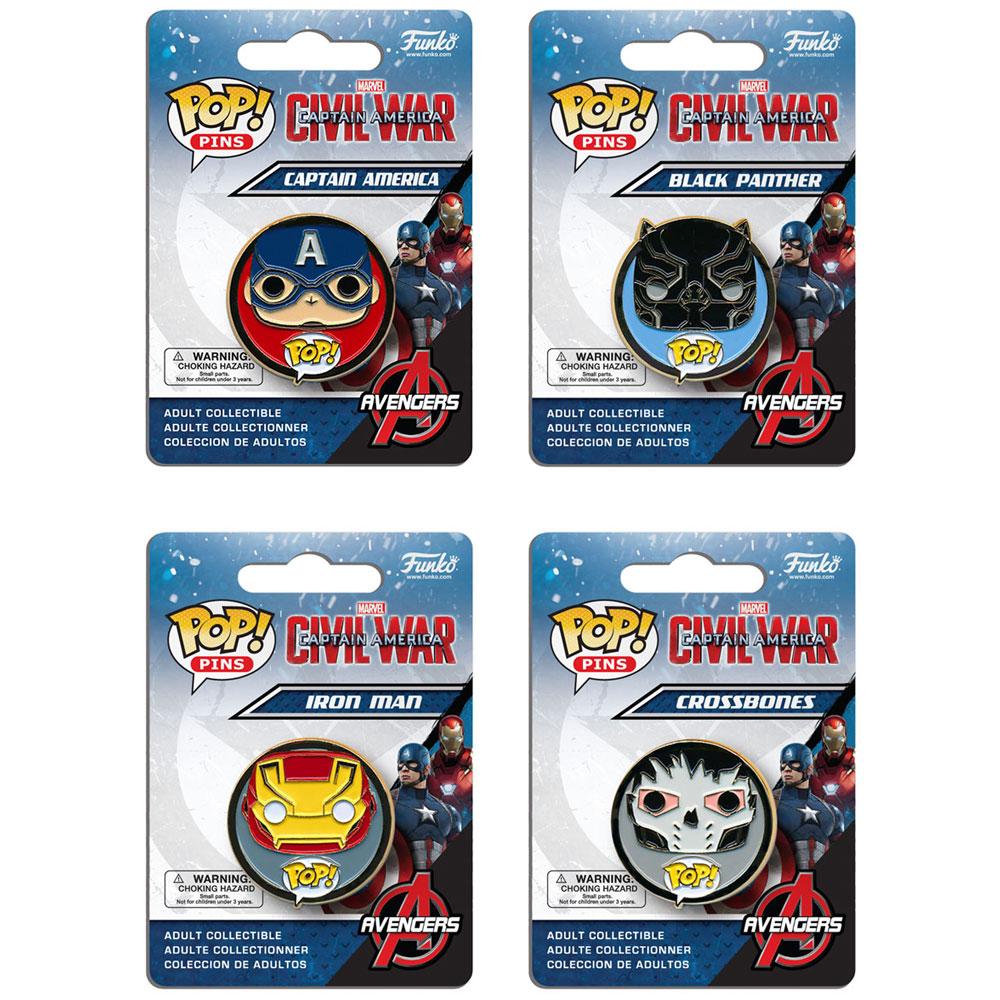 Funko POP! Pins - Captain America: Civil War - SET OF 4 (Crossbones, Iron Man, Black Panther+)
