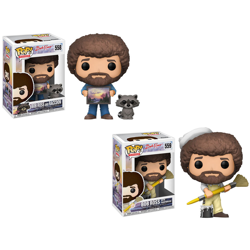 Funko POP! Television - Bob Ross S2 Vinyl Figures - SET OF 2 (Paintbrush & with Raccoon)
