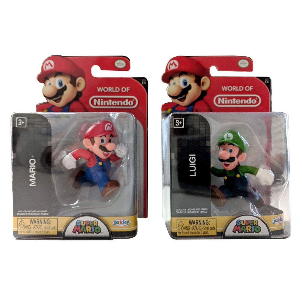 Jakks Pacific Toys - World of Nintendo Figures - SET OF 2 MARIO & LUIGI (Running)(2.5 inch)