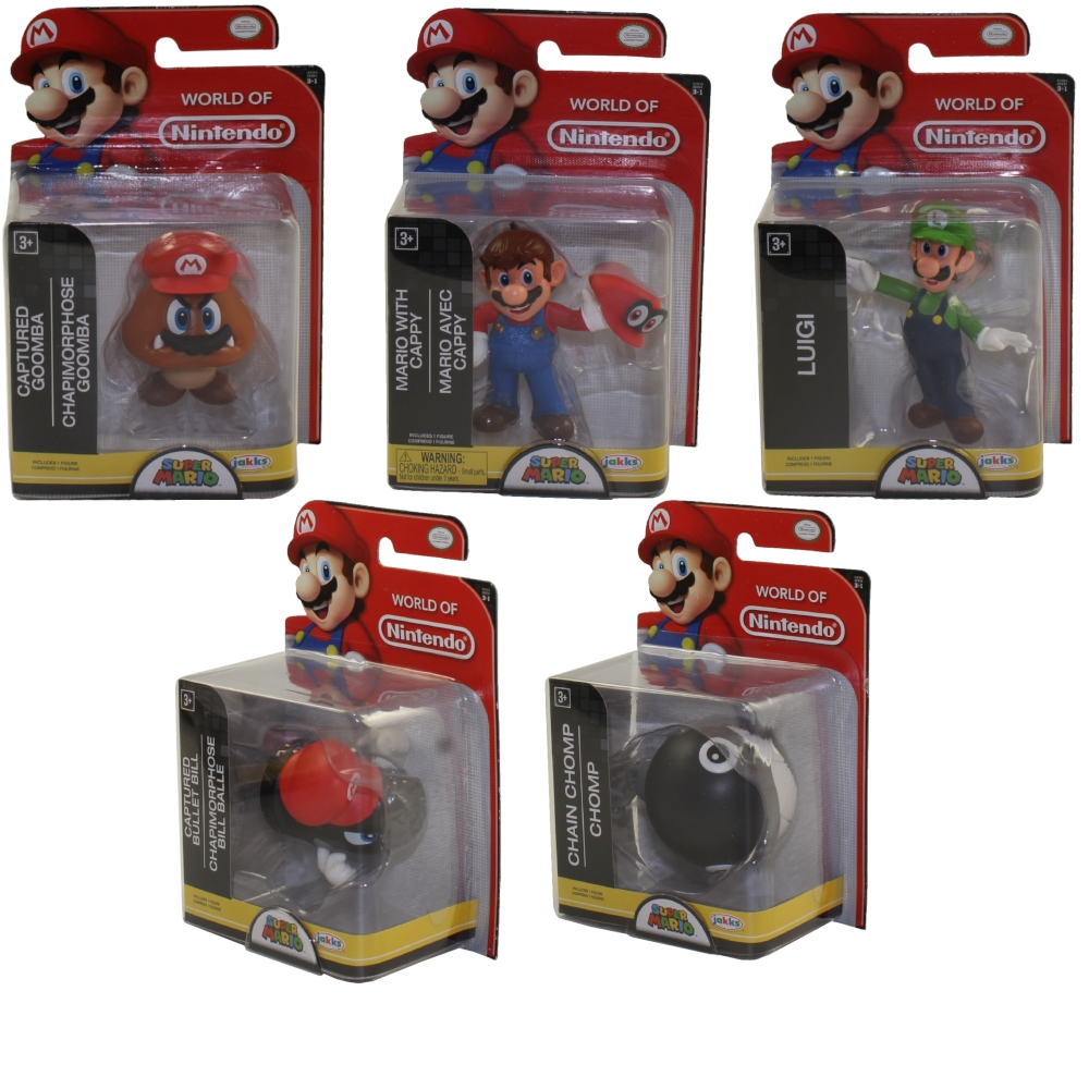 Jakks Pacific Toys - World of Nintendo Wave 16 Figures - SET OF 5 (Luigi, Goomba +3)(2.5 inch)