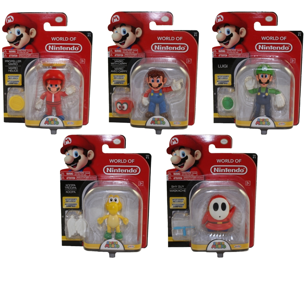 Jakks Pacific Toys - World of Nintendo Wave 13 Figures - SET OF 5 (Luigi, Shy Guy, Koopa +2)(4 inch)