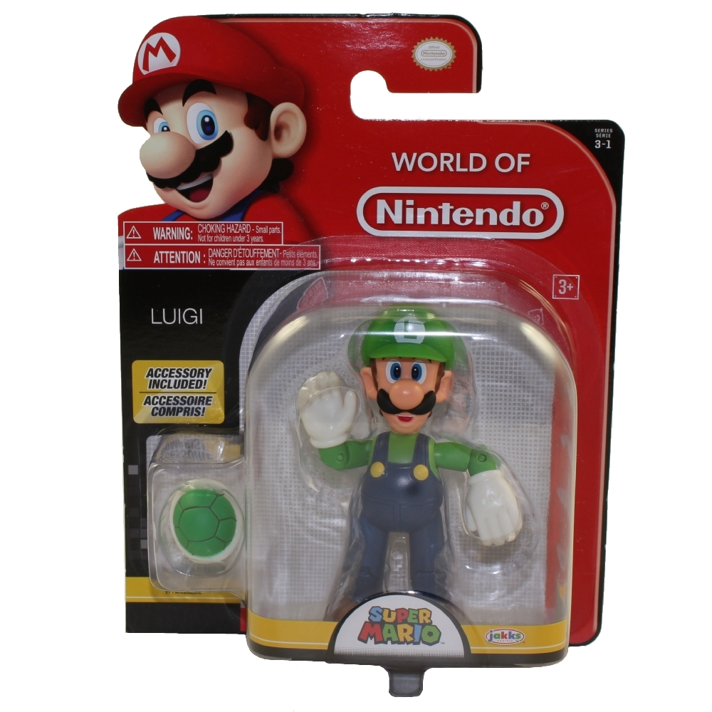 Jakks Pacific Toys - World of Nintendo Wave 13 Figure - LUIGI w/ Green Shell (Super Mario)(4 inch)