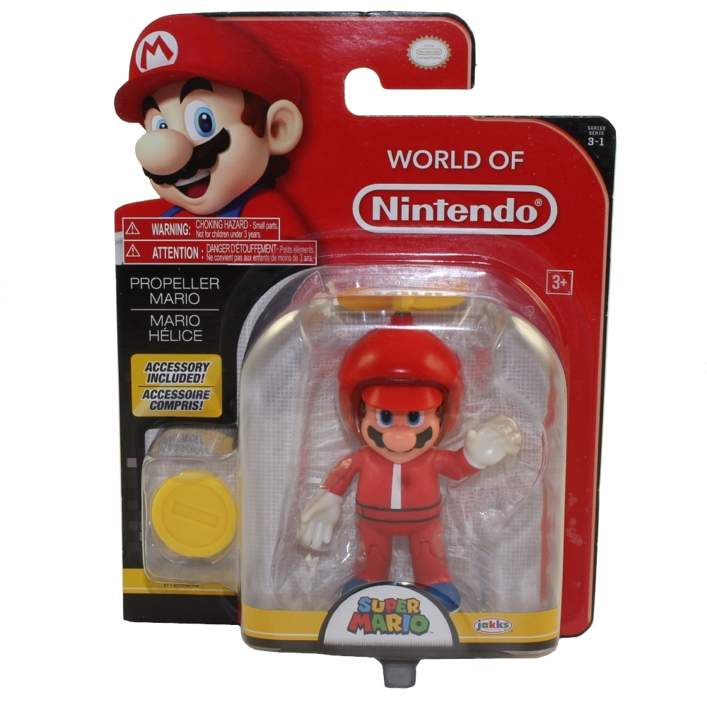Jakks Pacific Toys - World of Nintendo Wave 13 Figure - PROPELLER MARIO w/ Coin (Super Mario)(4 inch