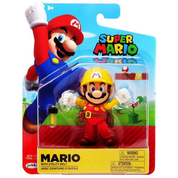 Jakks Pacific Toys - Super Mario Maker Figure - MARIO with Utility Belt & Hammer (4 inch)
