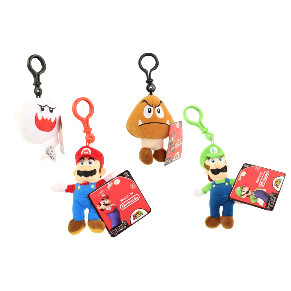 Jakks Pacific Toys - World of Nintendo - Plush Clip W1 - SET OF 4 (Mario, Luigi, Goomba & Boo)(5 in)