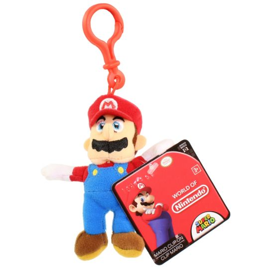 Jakks Pacific Toys - World of Nintendo - Plush Clip W1 - MARIO (5 inch)