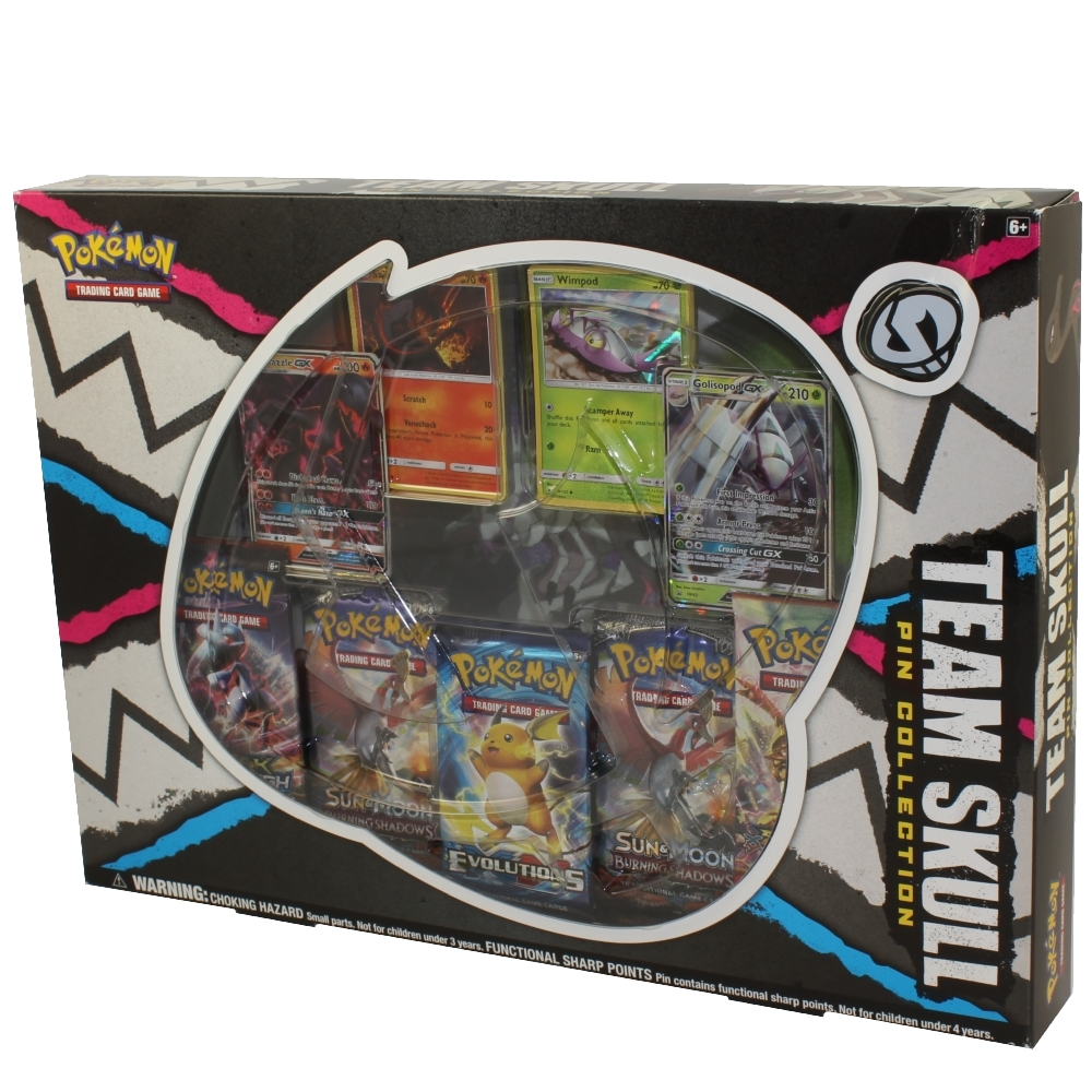 Pokemon Cards - TEAM SKULL PIN COLLECTION (4 Foils, 5 Booster Packs & 1 Pin)
