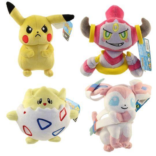 pokemon tomy plush set of 4 pikachu hoopa togepi sylveon 8