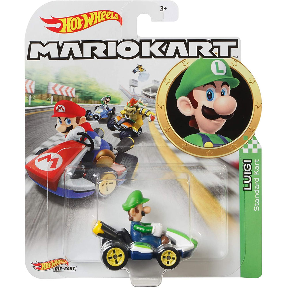 Mattel - Hot Wheels Car - Mario Kart Nintendo Collection - LUIGI (Standard Kart) GLP37