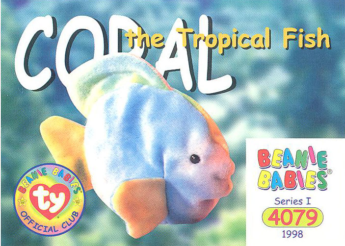 65ac3fa2667 Ty Beanie Babies Official Collectors Card Series 1 Common CORAL the  Tropical Fish Style  4079. Originally released in 1998. Card is in NM Mint  condition.