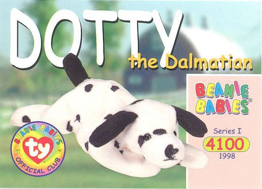 e6ec2562ff2 TY Beanie Babies BBOC Card - Series 1 Common - DOTTY the Dalmatian   BBToyStore.com - Toys