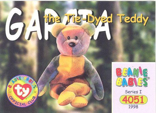 TY Beanie Babies BBOC Card - Series 1 Common - GARCIA the Tie-dyed Bear   BBToyStore.com - Toys 781351badca