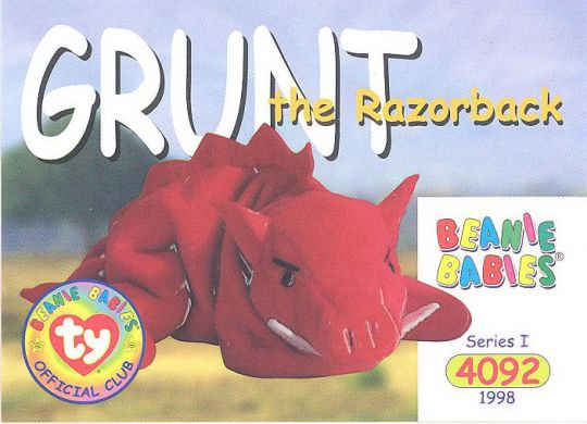 ce24e2b5c4933b TY Beanie Babies BBOC Card - Series 1 Common - GRUNT the Razorback:  BBToyStore.com - Toys, Plush, Trading Cards, Action Figures & Games online  retail store ...