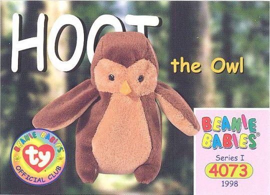TY Beanie Babies BBOC Card - Series 1 Common - HOOT the Owl  BBToyStore.com  - Toys 4671c5d11680