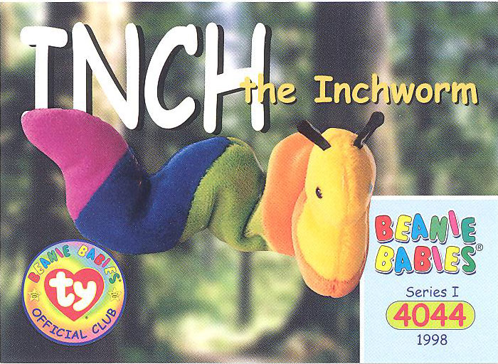 ty beanie babies bboc card - series 1 common - inch the inchworm  bbtoystore com