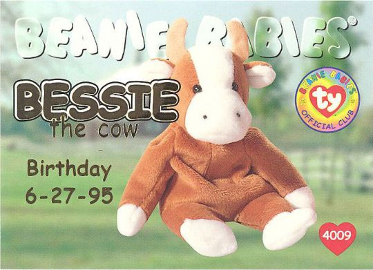 TY Beanie Babies BBOC Card - Series 1 Birthday (GOLD) - BESSIE the Cow   BBToyStore.com - Toys d285e0cb804