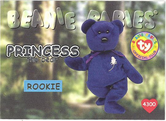 c88983cf9d6 TY Beanie Babies BBOC Card - Series 1 (SILVER) - PRINCESS the Bear  (Rookie)  BBToyStore.com - Toys
