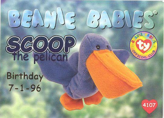 c412a072aaf TY Beanie Babies BBOC Card - Series 1 Birthday (BLUE) - SCOOP the Pelican   BBToyStore.com - Toys