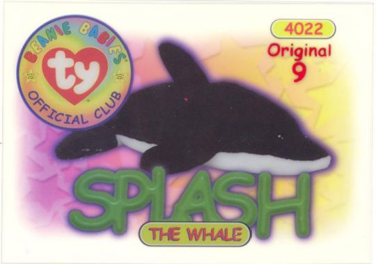 e07230eb671 TY Beanie Babies BBOC Card - Series 1 Original 9 (RED) - SPLASH the Whale   BBToyStore.com - Toys