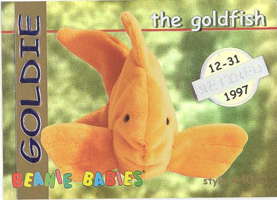 07808f61644 TY Beanie Babies BBOC Card - Series 1 Retired (SILVER) - GOLDIE the Goldfish   BBToyStore.com - Toys