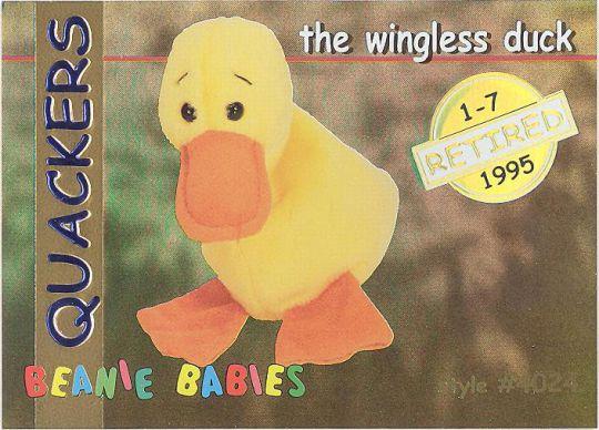 5de382e2408 TY Beanie Babies BBOC Card - Series 1 Retired (GOLD) - QUACKERS the Duck   BBToyStore.com - Toys