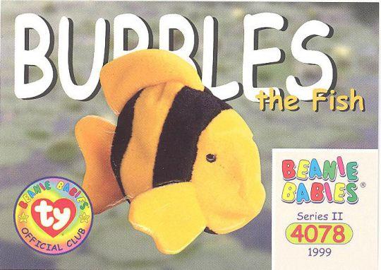 27a3cc14ac4 TY Beanie Babies BBOC Card - Series 2 Common - BUBBLES the Fish   BBToyStore.com - Toys