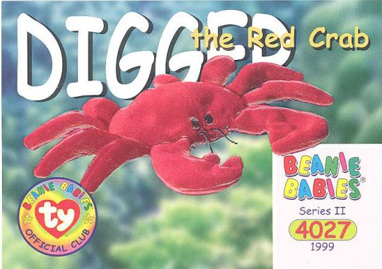 TY Beanie Babies BBOC Card - Series 2 Common - DIGGER the Red Crab   BBToyStore.com - Toys 68f519cfe89
