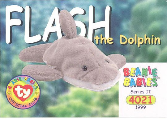 TY Beanie Babies BBOC Card - Series 2 Common - FLASH the Dolphin ... bc5c94512e5