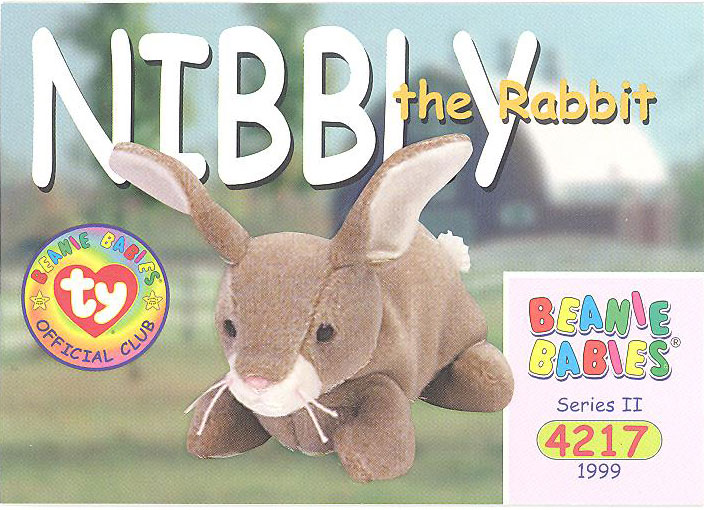 Series 1 Common TY Beanie Babies BBOC Card EARS the Rabbit NM//Mint