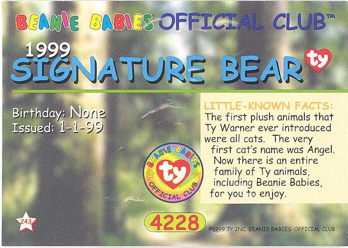 1999 BLUE GLORY RARE BEAR S2 BEANIE BABY CARDS Series 2 M//NM