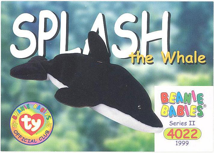 c83955a6e8a TY Beanie Babies BBOC Card - Series 2 Common - SPLASH the Whale ...