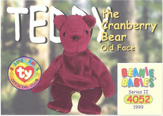 TY Beanie Babies BBOC Card - Series 2 Common - TEDDY CRANBERRY OLD FACE  BEAR  BBToyStore.com - Toys cf5ef8582753